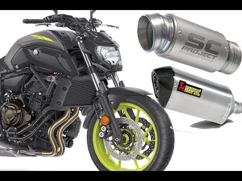 full system exhaust akrapovic vs sc project yamaha mt 07. Black Bedroom Furniture Sets. Home Design Ideas