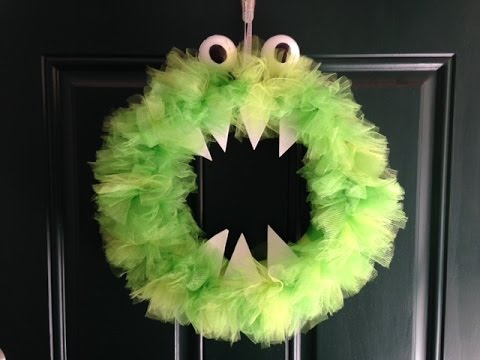 diy tulle monster wreath