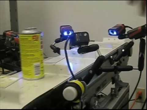 Six Microscan MINI Hawk Imagers Reading Code in Any 360 Degree Position