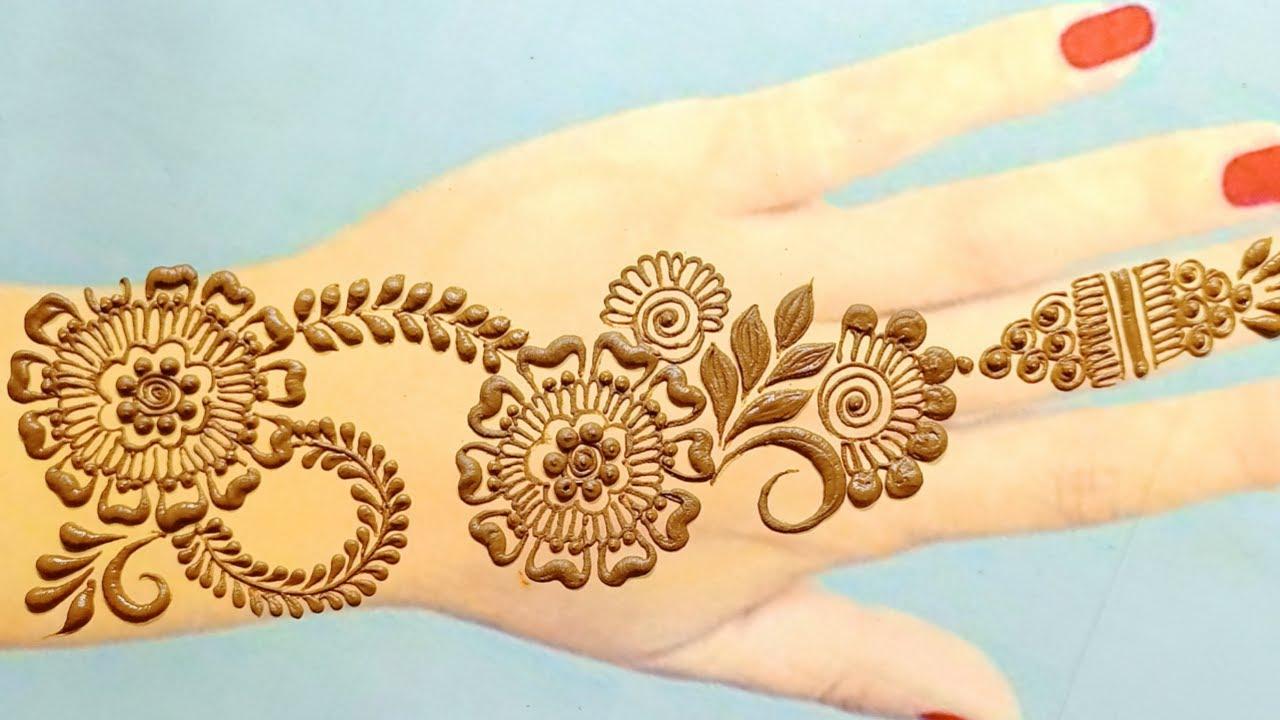 flower mehndi design 🌷 simple arebic mahandi design aasan