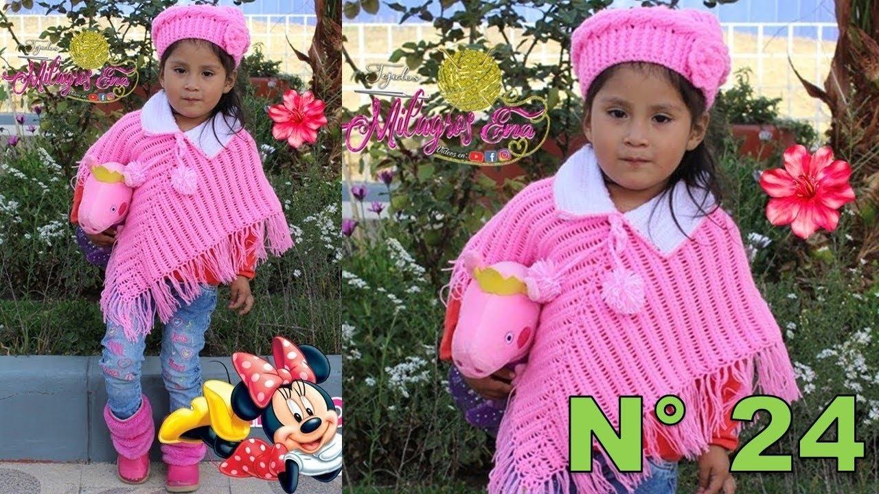 Poncho tejido a crochet para bebe o niña en PUNTO ESPIGA paso a paso