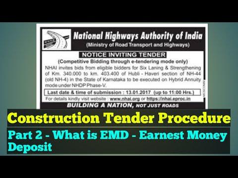 What is EMD - Earnest Money Deposit in Tender - Construction Tender Procedure Part 2