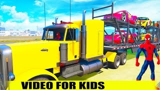 Carrier Truck Transport Lightning Mcqueen w Spiderman Drive. Cartoon for Kids. Nursery Rhymes Song