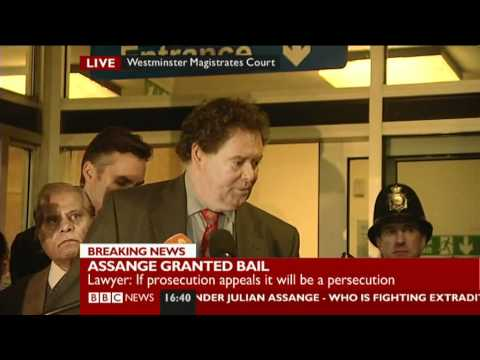 Julian Assange lawyer Mark Stephens speaking outside Westminster Magistrates Court 14th Dec 2010
