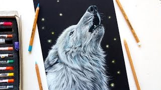 Drawing a white wolf with pastel pencils | Leontine van vliet