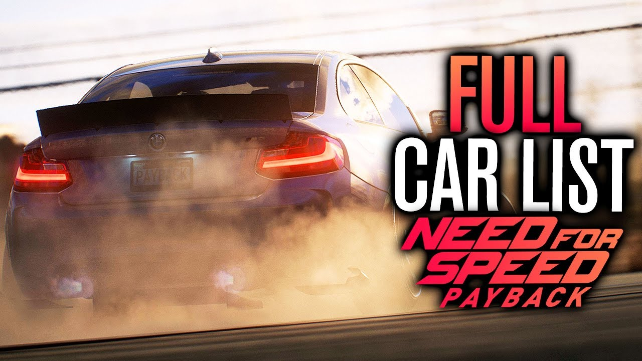 need for speed payback full car list prices complete youtube. Black Bedroom Furniture Sets. Home Design Ideas