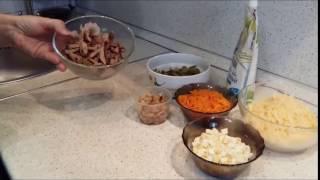 Салат с куриной печенью и сыром