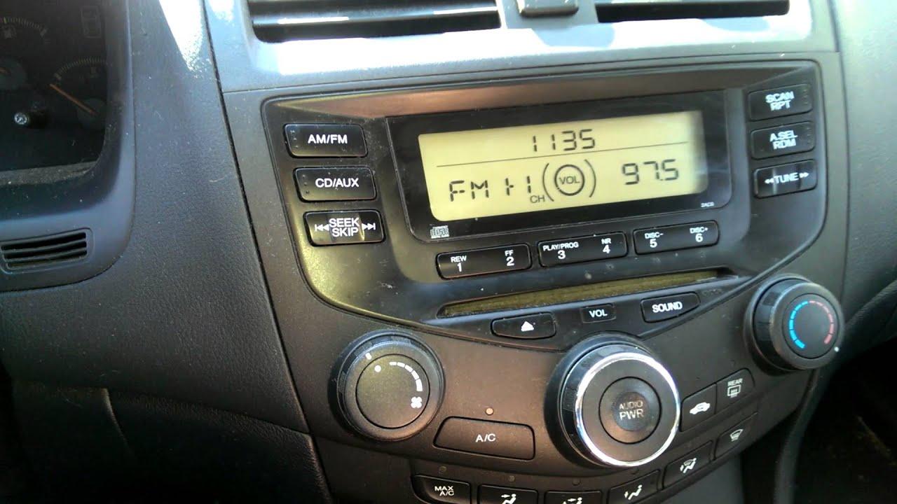 2003 Honda Accord Lx Fuse Box Diagram 2004 Honda Accord Radio Short Problem Youtube