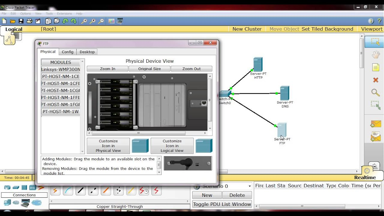 Ftp Http Dns Server And Pc In Packet Tracer Youtube