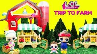 LOL Surprise Dolls Trip to Farm Farmers Market Farm Animals Go Crazy!