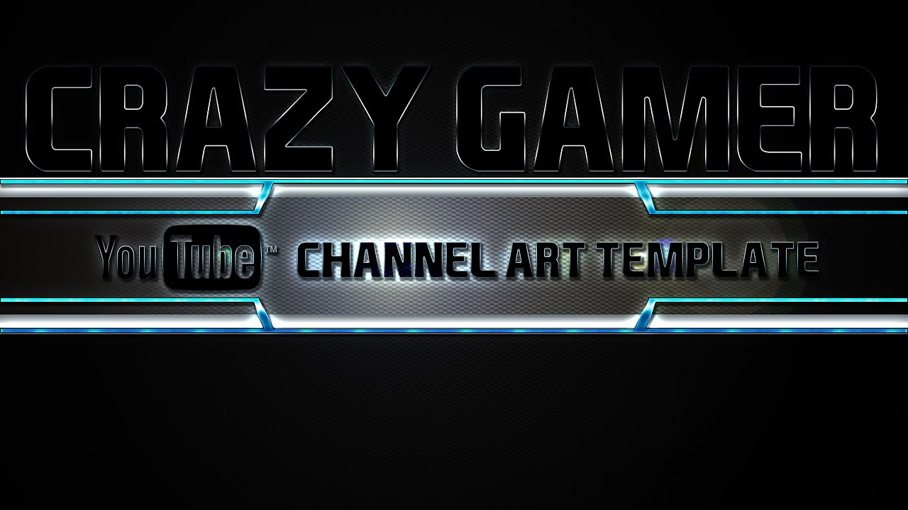 Crazy gamer youtube channel art template photoshop psd youtube pronofoot35fo Images