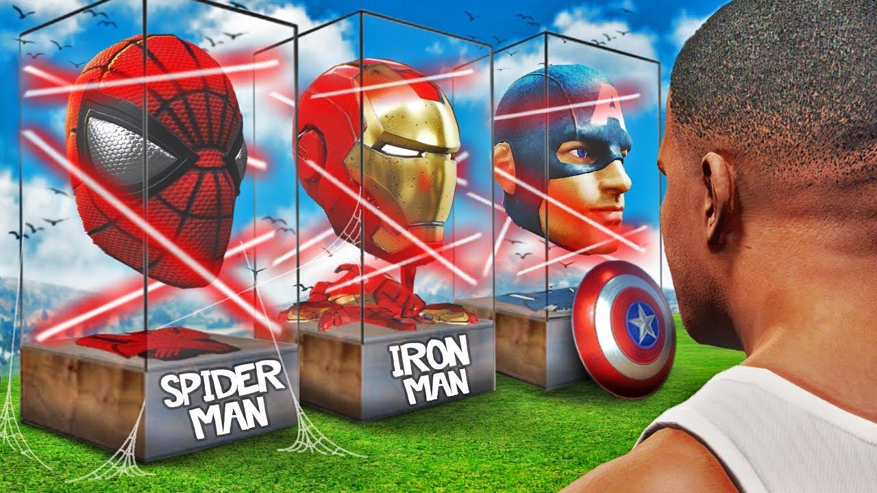 Stealing SUPER HERO SUITS In GTA 5 (Spiderman, Iron Man)
