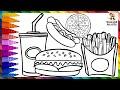 Dibuja y Colorea Comida Rapida 🍔🍕🌭 Dibujo De Hamburguesa, Pizza Y Hot Dog - Dibujos Para Niños