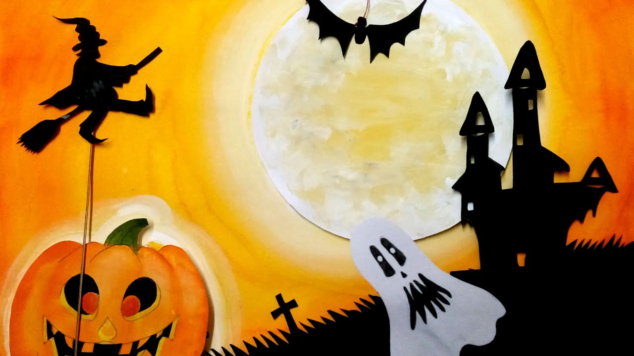 how to draw and make Halloween poster - YouTube
