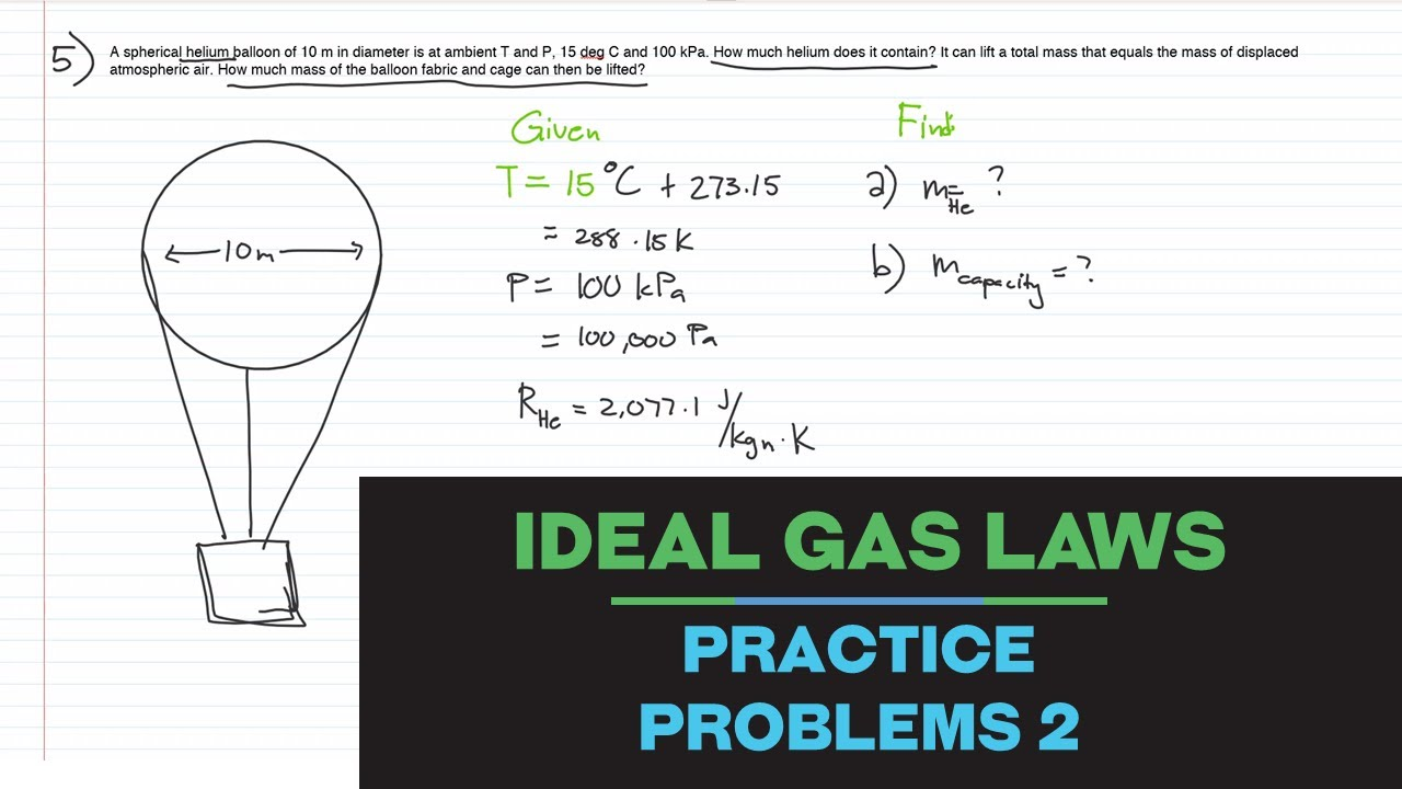IDEAL GAS LAWS PRACTICE PROBLEMS 2 | Thermodynamics ...