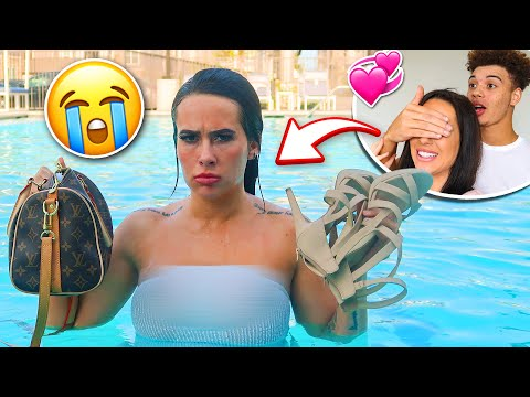 Making My GIRLFRIEND Get FULLY DRESSED Then THROWING Her In The POOL!! 😭 *BAD IDEA*