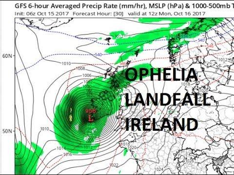 OPHELIA LANDFALL IN SOUTHWESTERN IRELAND MONDAY MORNING WITH HURRICANE FORCE WINDS