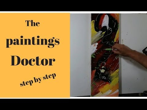 How to draw abstract painting with acrylic color/Demonstration of palette knife abstract painting