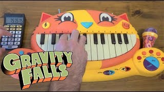 GRAVITY FALLS THEME ON A CAT PIANO AND A DRUM CALCULATOR