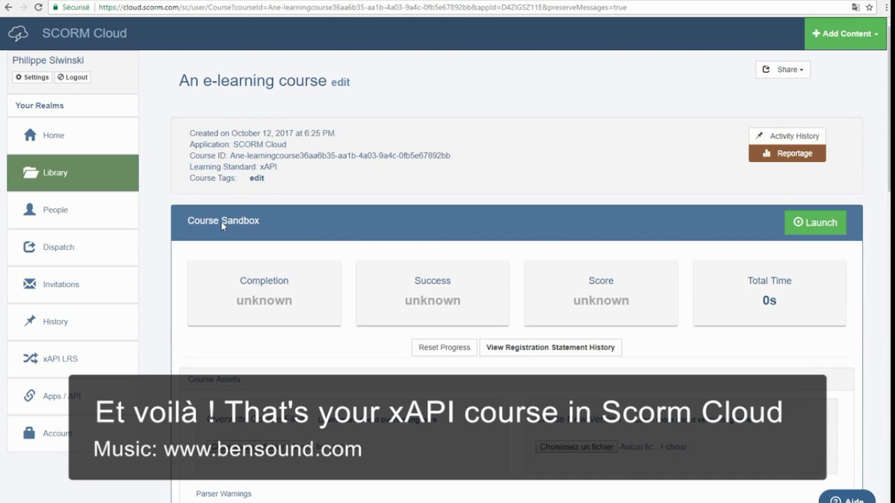 Upload a xAPI course to Scorm Cloud