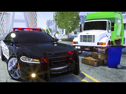 Sergeant Lucas the Police Car asking Garbage Truck to Clean the Street - Wheel City Heroes Cartoon