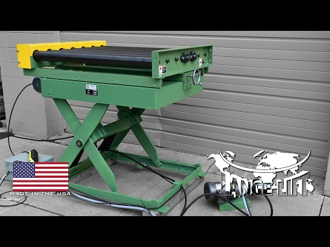 Scissor Lift with Side Adjusting Powered Roller Conveyor | 6,000 Pound Capacity