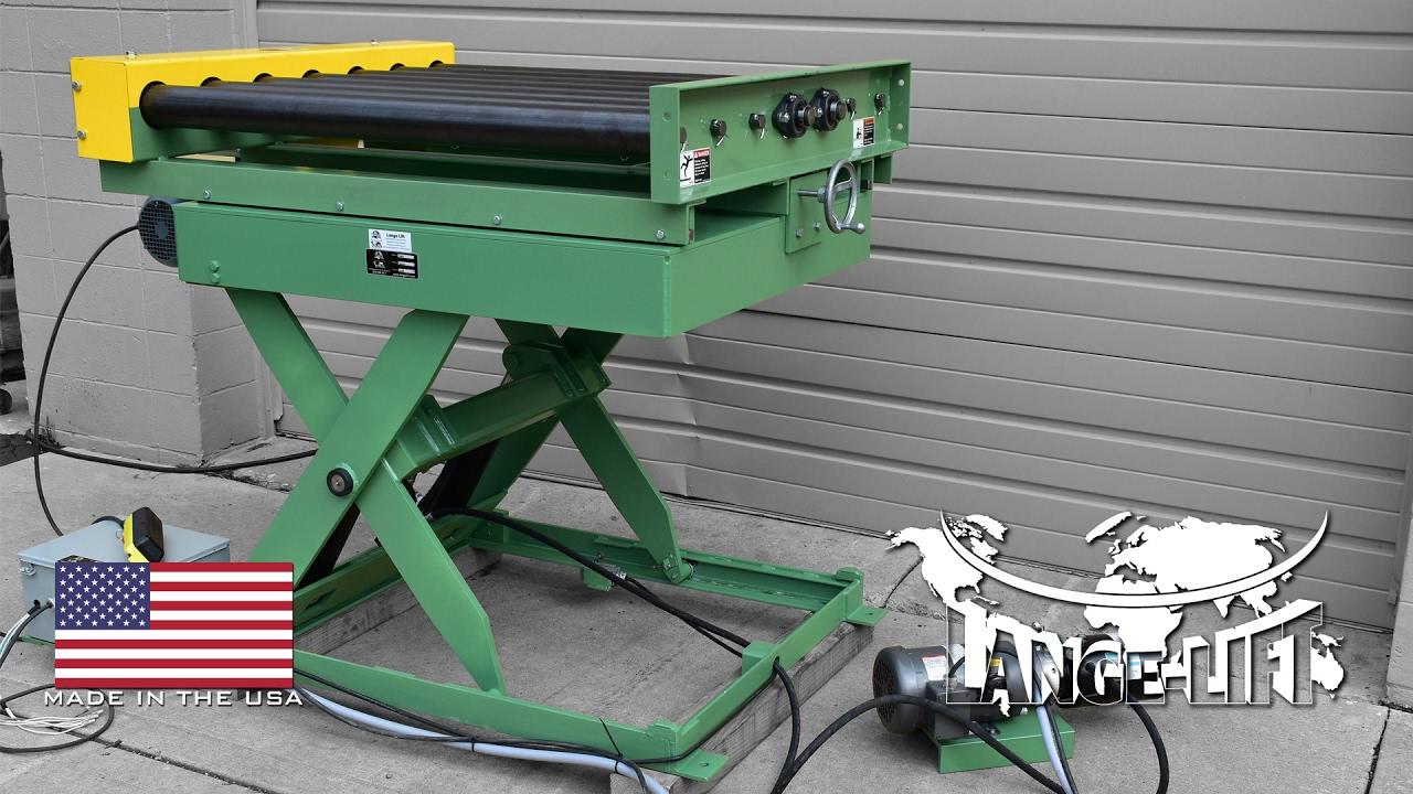 Scissor Lift With Side Adjusting Powered Roller Conveyor
