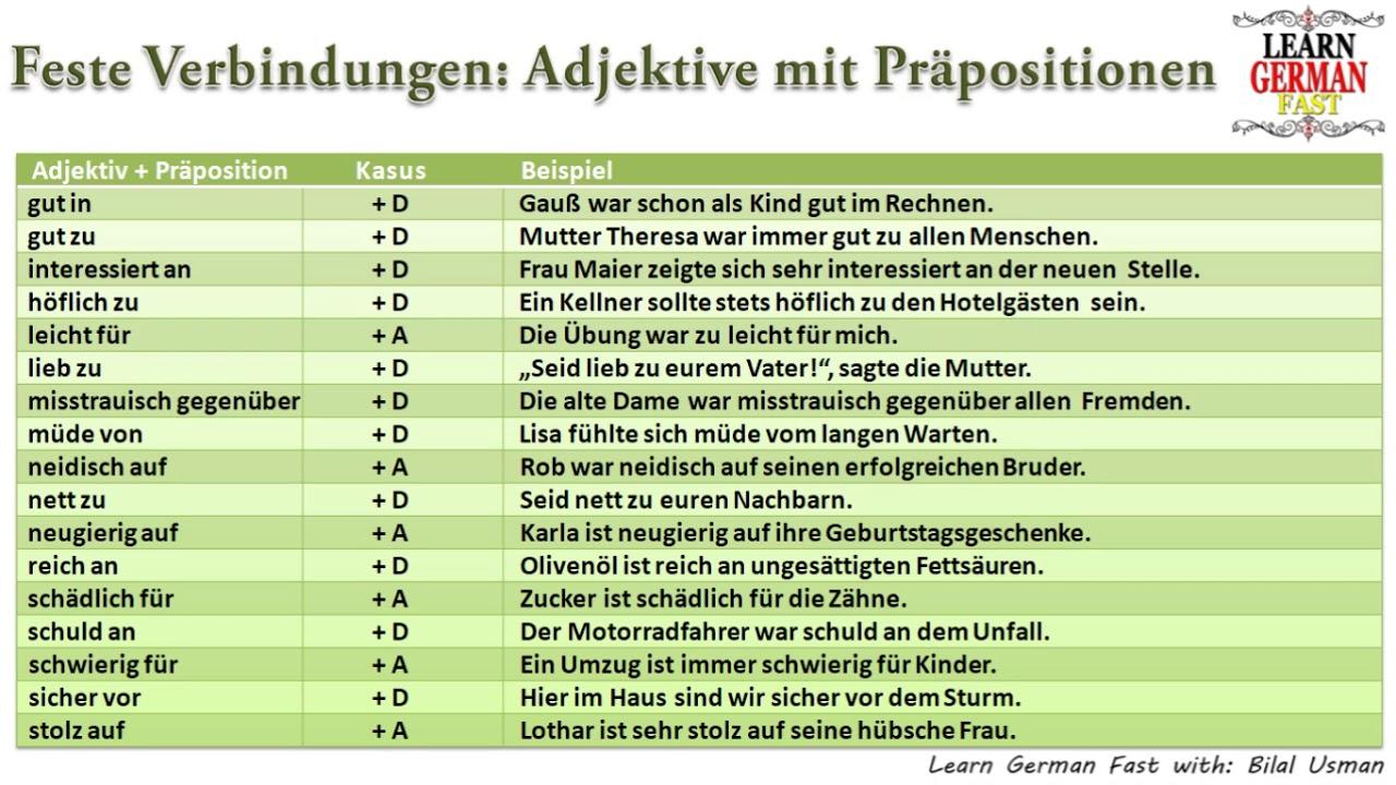 Learn German With Bilal German Feste Verbindungen Adjektive Mit Präpositionen