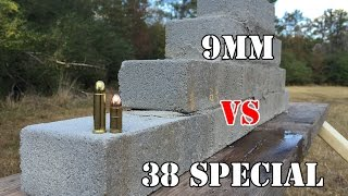 9mm vs .38 Special... Cement brick wall test