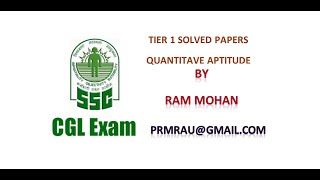 SSC CGL Tier 1 Solved Papers Quantitative Aptitude 19 October 2014 Morning Session Part 1