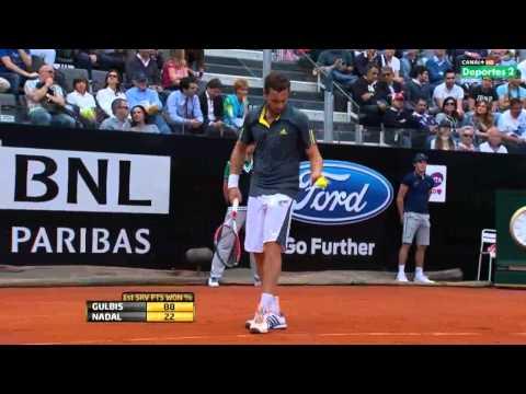 Nadal vs Gulbis - Masters Rome 2013 R3 - strange 1st set - tennis only