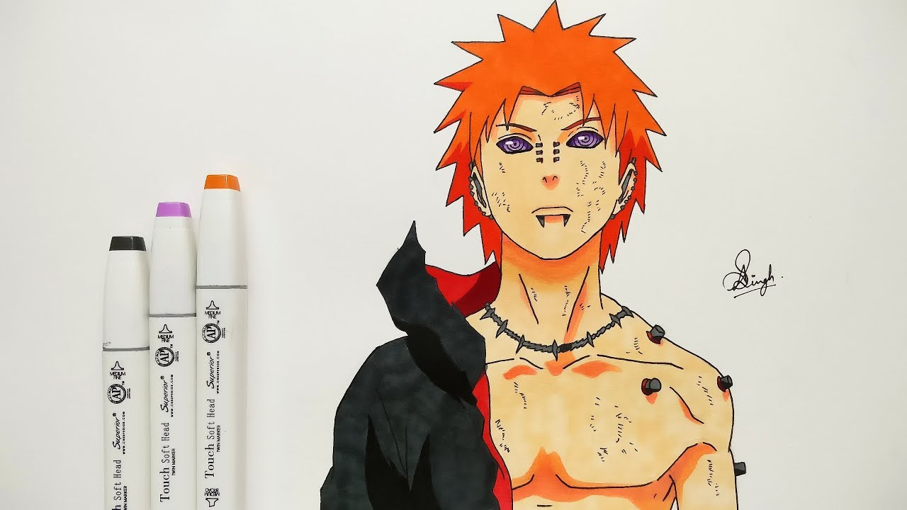 How To Draw Pain - Step By Step (Tutorial) - Naruto ...