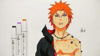 How To Draw Pain - Step By Step (Tutorial) - Naruto Shippuden