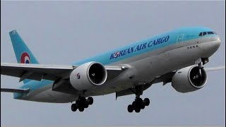 Korean Air Cargo B777F Landing at Heathrow Airport