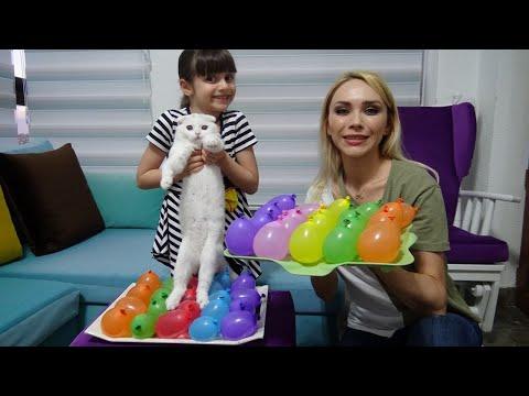 Lina Ve Kedisi Pamuk'un Su Balonu Oyunları! Ayakla Su Balonu Patlatma Challenge! indir