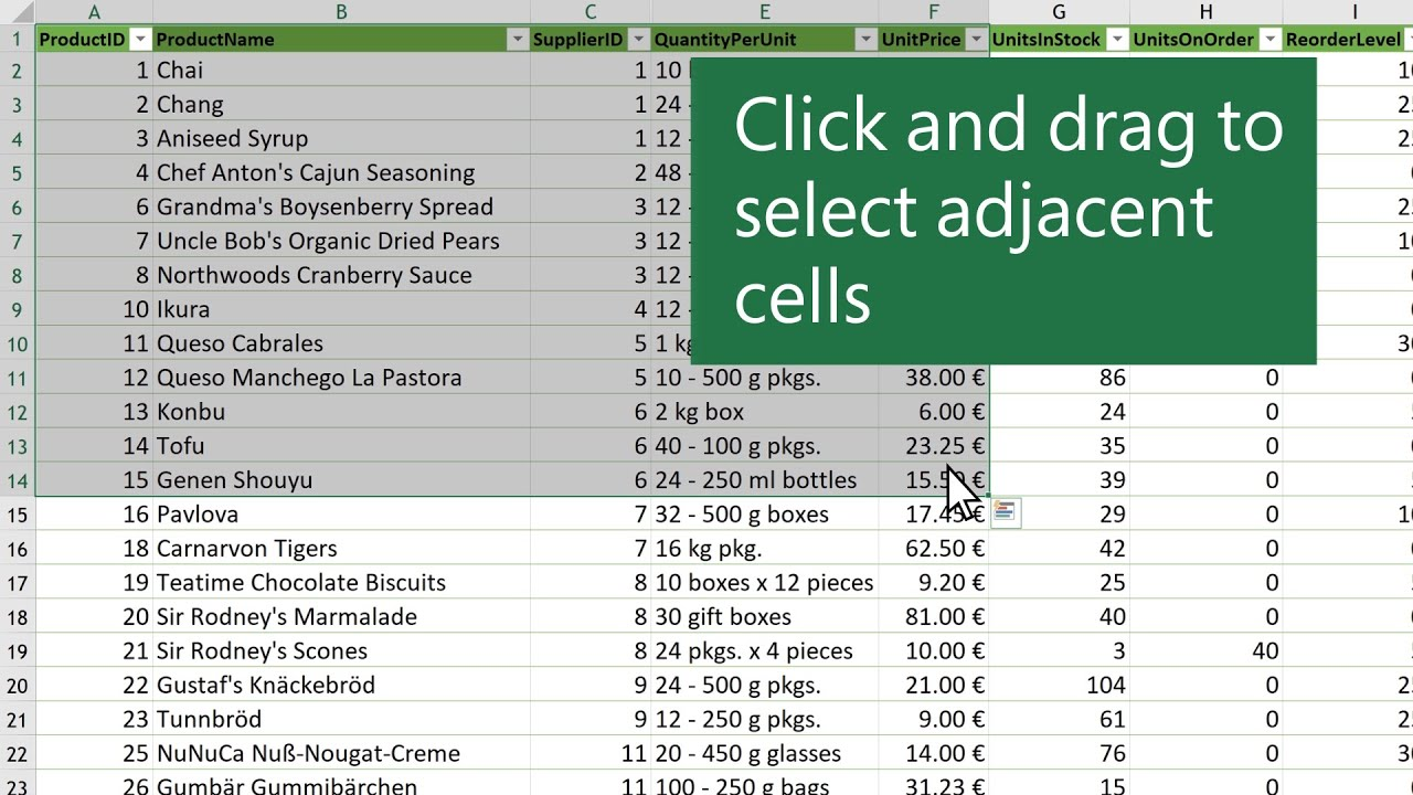 Select cell contents in Excel - YouTube