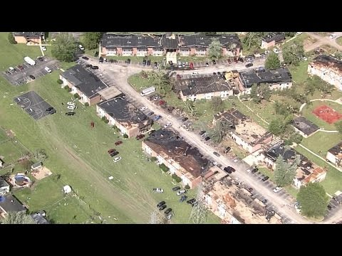 Aerial view of damage after EF3 tornado hit Kokomo