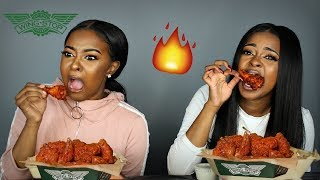 EXTREMELY HOT 🔥🔥 ATOMIC HOT WING WINGSTOP CHALLENGE   Pitts Twins