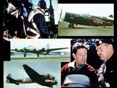 """Combat America"" with Clark Gable World War 2 Bombing Missions in Restored Color (1943)"
