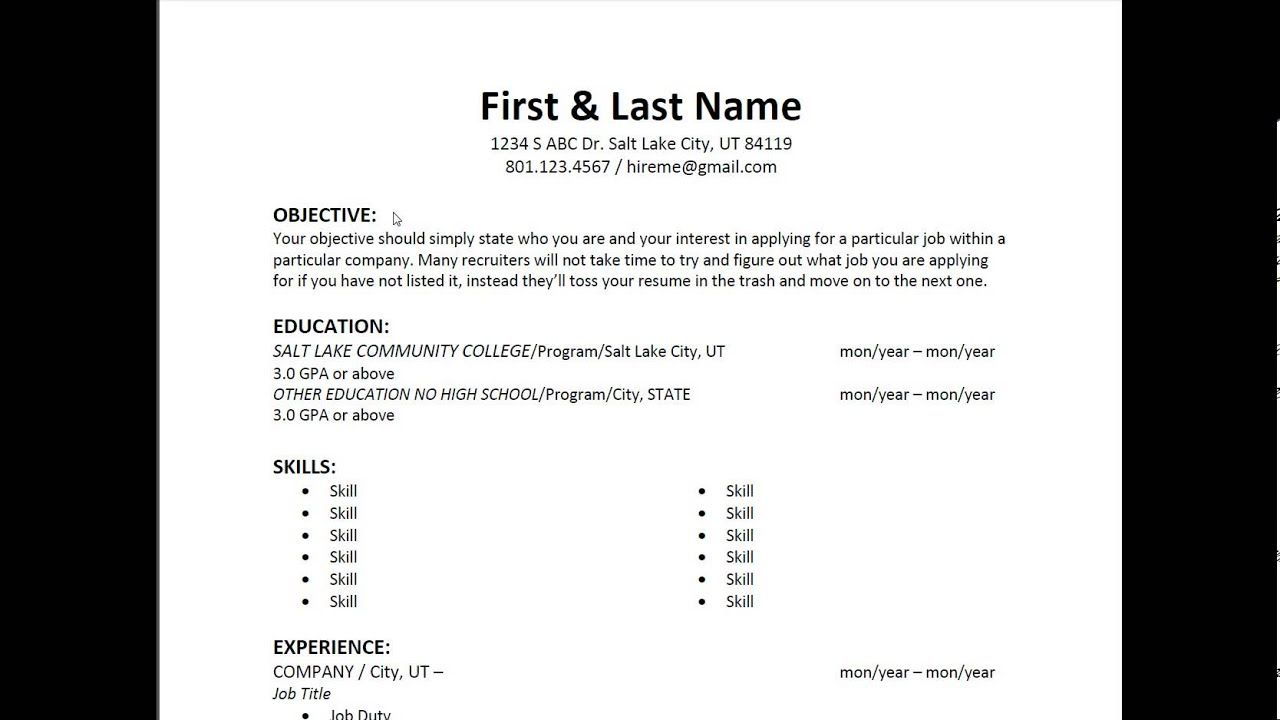 resume basics - tutorial  1 - resume layout