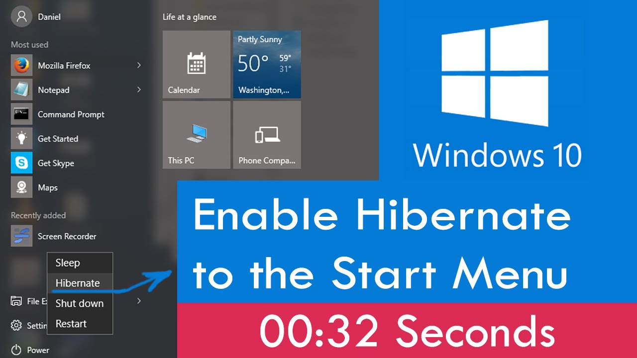 How to enable hibernate to the windows 10 start menu youtube ccuart Images