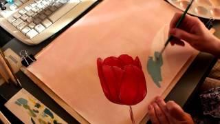 Как нарисовать тюльпан и тени. Два тона в рисунке. Урок по теням.(Как правильно положить тени в рисунке. Рисуем тюльпан от начала и до конца. Тюльпан двумя цветами., 2016-01-06T14:04:54.000Z)
