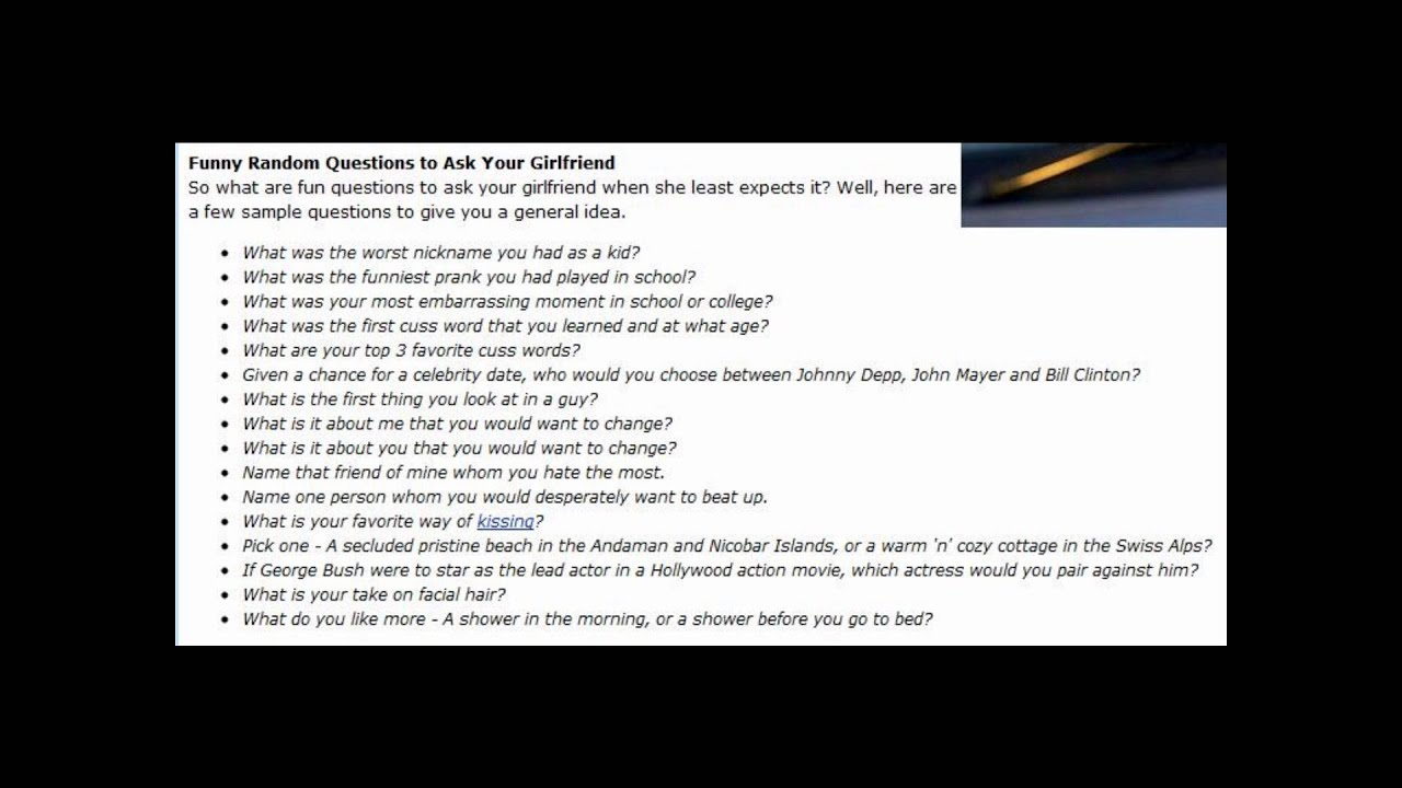questions to ask your girlfriend when your bored