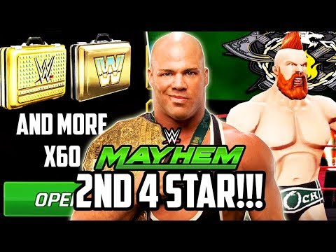 WWE MAYHEM NEW 4 STAR SUPERSTAR LOOT OPENING! 60+ LOOTCASES!!!