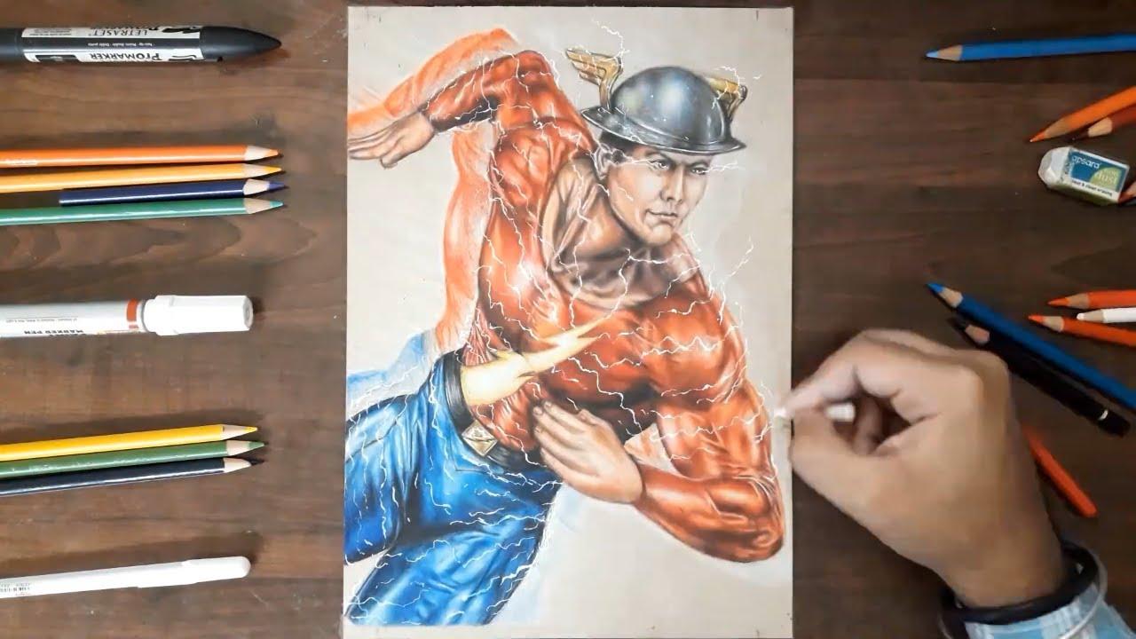 Drawing Jay Garrick Golden Age Flash Dc Comics Time Lapse Youtube