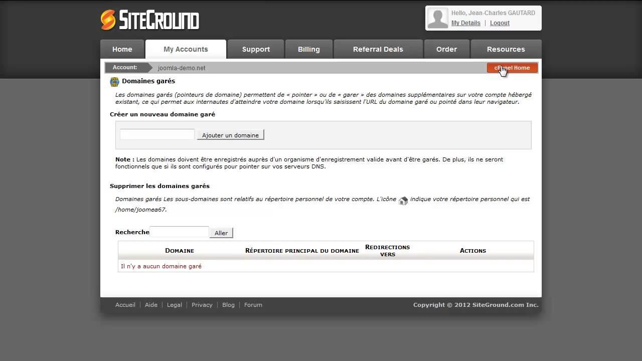 L'interface de gestion de l'hébergement SiteGround