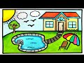 HOUSE TREE CLOUD DRAWING | HOW TO DRAW A HOUSE