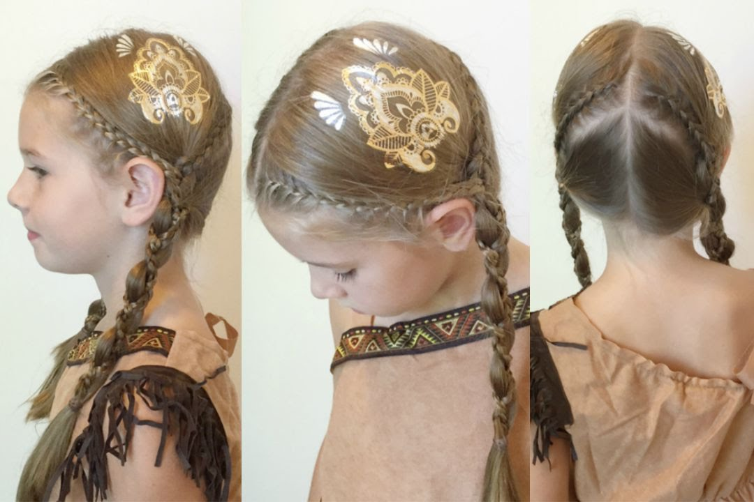 Pocahontas Inspired Braids With Scunci Hair Tattoos YouTube