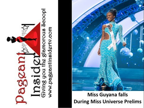 Miss Guyana Falls during Miss Universe Preliminary