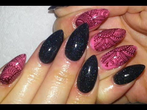 Nail Art Stamping Mehndi Henna Black And Pink Almond Nails Youtube